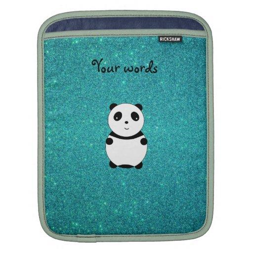 Cute baby panda turquoise glitter iPad sleeves