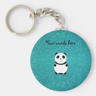 Cute baby panda turquoise glitter key chain