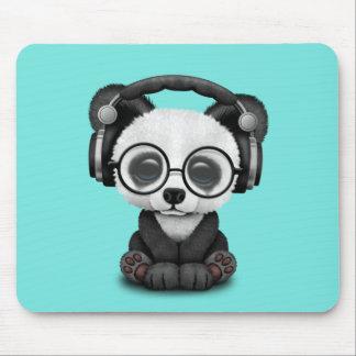 Cute Baby Panda Wearing Headphones Mouse Pad