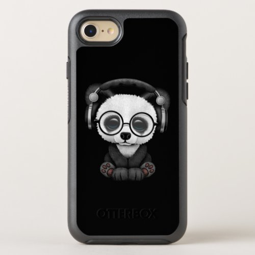 Cute Baby Panda Wearing Headphones OtterBox Symmetry iPhone SE/8/7 Case