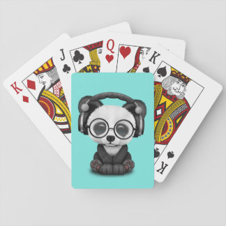Cute Baby Panda Wearing Headphones Playing Cards