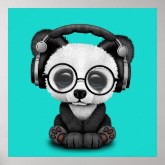 Cute Baby Panda Wearing Headphones Poster