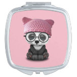 Cute Baby Panda Wearing Pussy Hat Mirror For Makeup