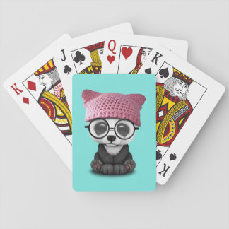 Cute Baby Panda Wearing Pussy Hat Playing Cards