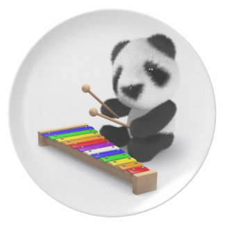 Cute Baby Panda Xylophone 3d Dinner Plate