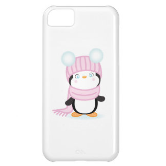 Cute baby peguin in pink hat and scarf. case for iPhone 5C