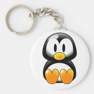 Cute Baby Penguin - Customizeable Basic Round Button Keychain