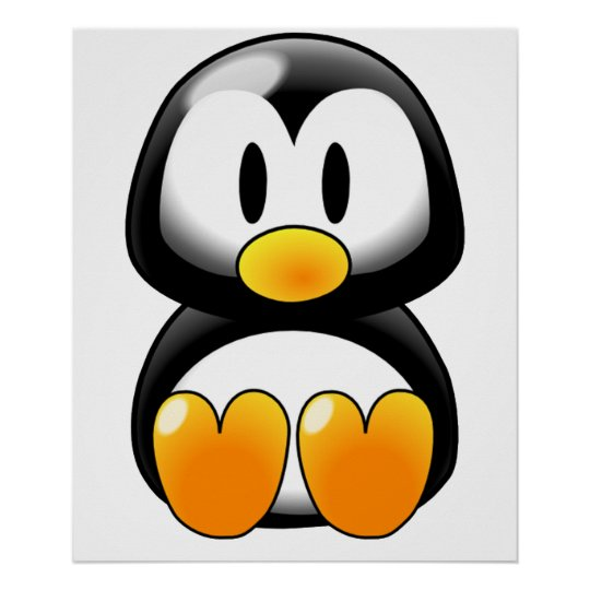 Cute Baby Penguin - Customizeable Poster