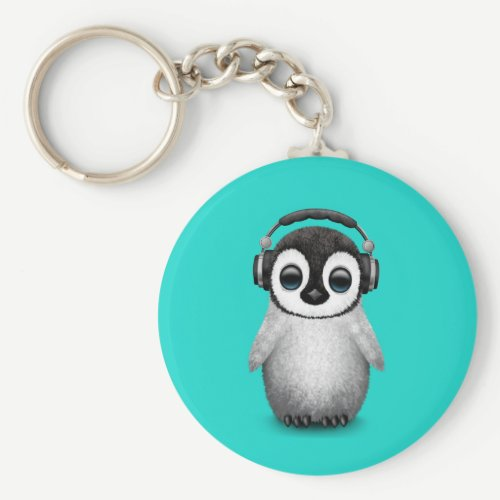 Cute Baby Penguin Dj Wearing Headphones Keychain