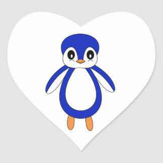 Cute Baby Penguin Heart Sticker