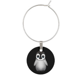 Cute Baby Penguin on Black Wine Glass Charms