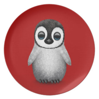 Cute Baby Penguin on Deep Red Melamine Plate