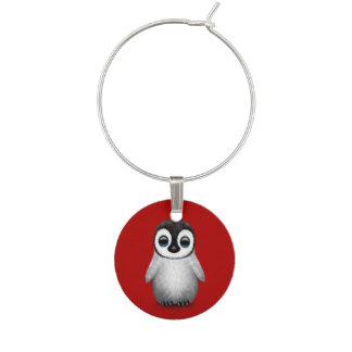 Cute Baby Penguin on Deep Red Wine Charms