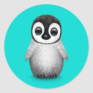 Cute Baby Penguin on Light Blue Classic Round Sticker