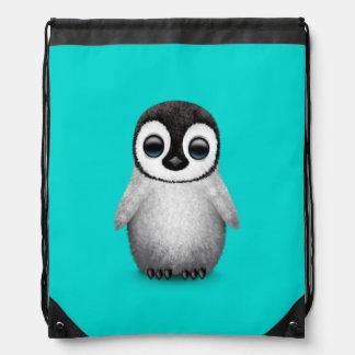 Cute Baby Penguin on Light Blue Drawstring Backpack