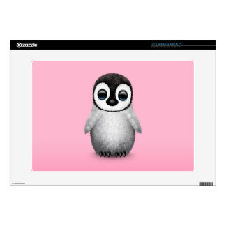 Cute Baby Penguin on Pink Decals For Laptops