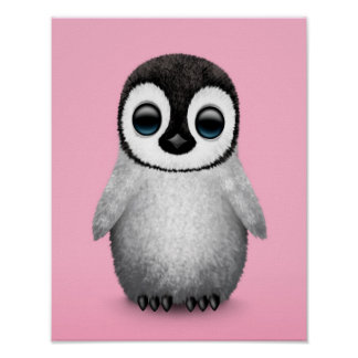 Cute Baby Penguin on Pink Poster