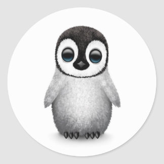 Cute Baby Penguin on White Classic Round Sticker