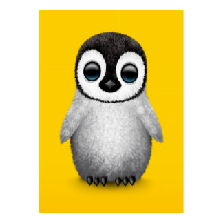 Cute Baby Penguin on Yellow Large Business Card