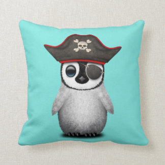 Cute Baby Penguin Pirate Throw Pillow
