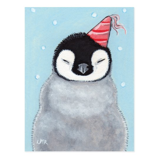 Cute Baby Penguin Wearing A Party Hat Painting Postcard