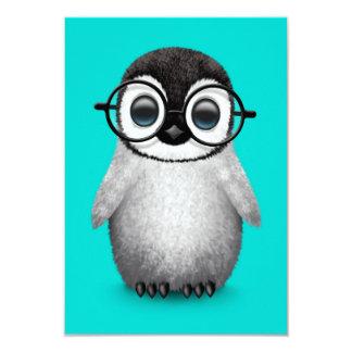 Cute Baby Penguin Wearing Eye Glasses on Blue Card