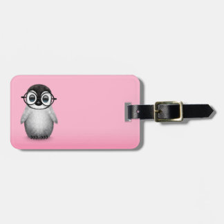 Cute Baby Penguin Wearing Eye Glasses on Pink Bag Tag