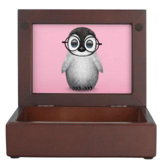Cute Baby Penguin Wearing Eye Glasses on Pink Memory Box