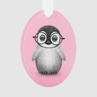 Cute Baby Penguin Wearing Eye Glasses on Pink Ornament