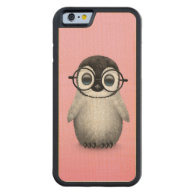 Cute Baby Penguin Wearing Eye Glasses on Pink Carved® Maple iPhone 6 Bumper Case