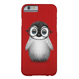 Cute Baby Penguin Wearing Eye Glasses on Red Barely There iPhone 6 Case