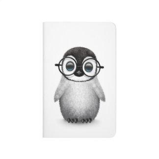 Cute Baby Penguin Wearing Eye Glasses on White Journal