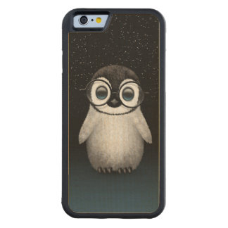 Cute Baby Penguin Wearing Eye Glasses with Stars Carved Maple iPhone 6 Bumper Case
