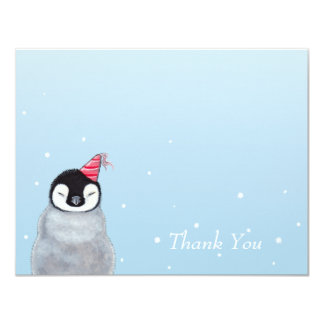 Cute Baby Penguin with Party Hat Thank You Card