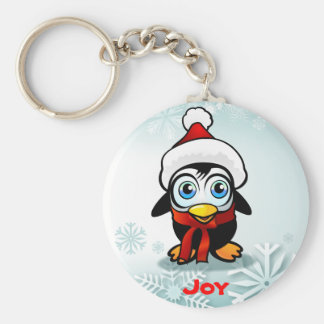 Cute Baby Penguin With Santa Hat Keychain
