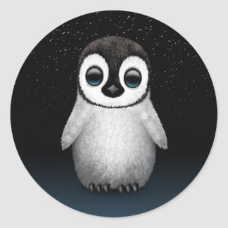 Cute Baby Penguin with Stars Classic Round Sticker