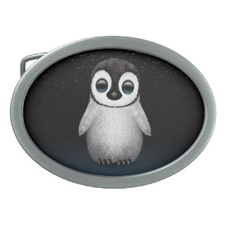 Cute Baby Penguin with Stars Oval Belt Buckle