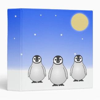 Cute Baby Penguins Blue Starry Sky Blue Binder