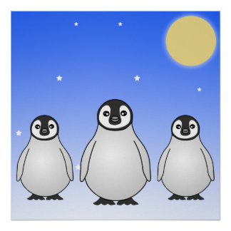 Cute Baby Penguins Blue Starry Sky Poster / Print