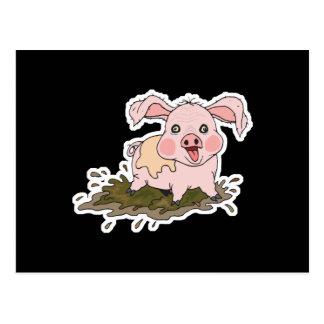 cute baby pig in mud postcard