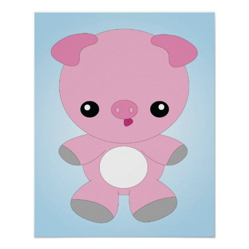 Cute Baby Pig poster