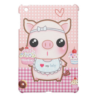 Cute baby piggy and kawaii cupcakes cover for the iPad mini
