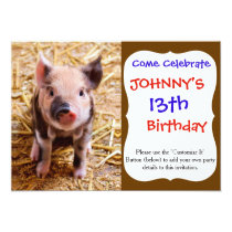 Cute Baby Piglet Farm Animals Babies Invitation