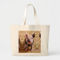 Cute Baby Piglet Farm Animals Babies Large Tote Bag