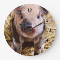 Cute Baby Piglet Farm Animals Barnyard Babies Large Clock