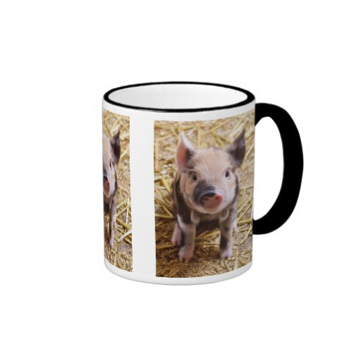 Cute Baby Piglet Farm Animals Barnyard Babies Ringer Coffee Mug