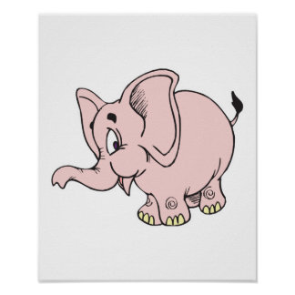 cute baby pink elephant poster