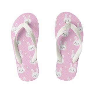Cute Baby pink fluffy cartoon bunny pattern Kid's Flip Flops