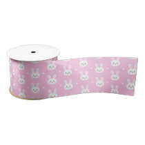Cute Baby pink fluffy cartoon bunny pattern Satin Ribbon