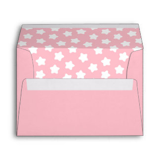 Cute Baby Pink Star Lined A7 Envelope